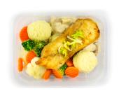 Zestaw 16: Miruna z sosem porowym, puree ziemniaczane i warzywa na parze - miniaturka - raz na wozie