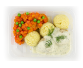 Zestaw 6: Pulpeciki drobiowe, sos koperkowy, ziemniaki, marchewka z groszkiem - miniaturka - raz na wozie